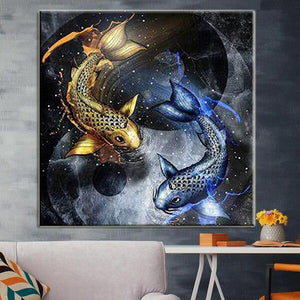 5D Diamond Painting Yin & Yang Koi Golden and Blue
