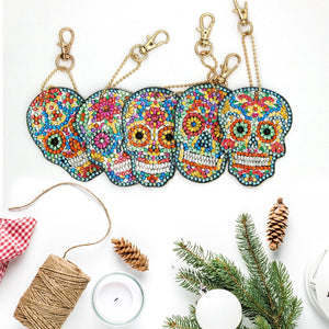 5D Diamond Painting Key Chains Day of the Dead Skulls