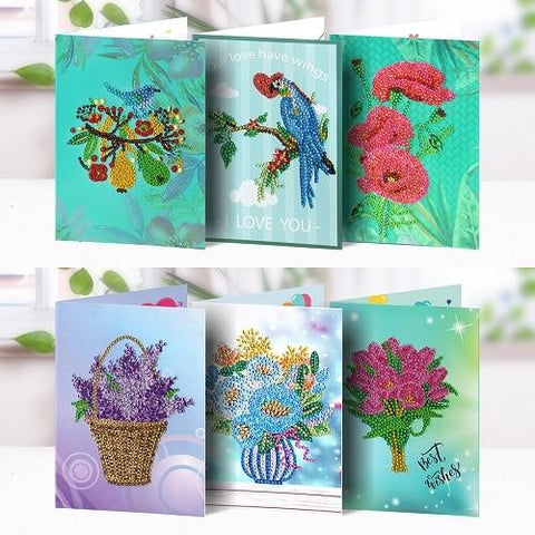 5D Diamond Painting Greeting Card Flowers and Birds
