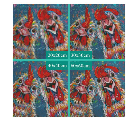 Image of 5D Diamond Painting Two Crazy Roosters