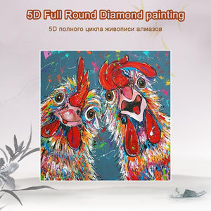 5D Diamond Painting Two Crazy Roosters