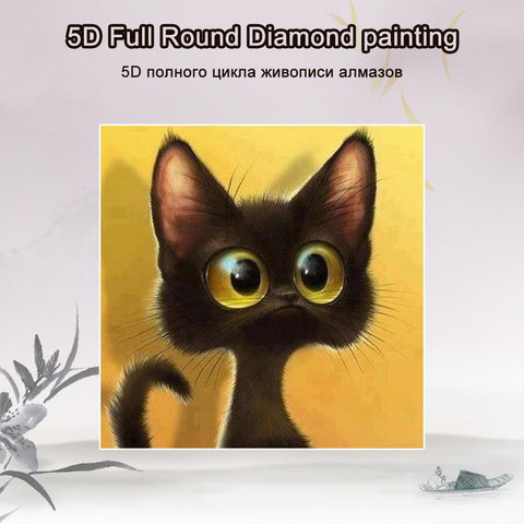 5D Diamond Painting Scared Cat