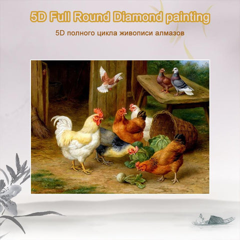 Image of 5D Diamond Painting Roosters **round drill only**