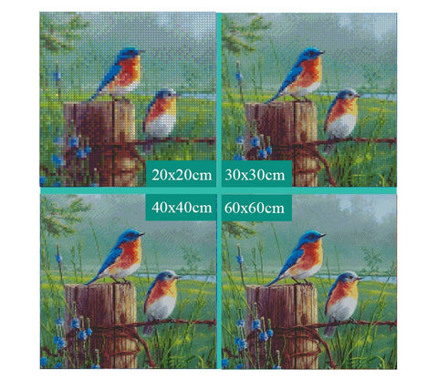 Image of 5D Diamond Painting Two Birds **round drills only**
