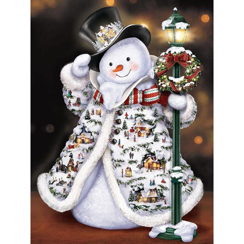 5D Diamond Painting Happy Snowman Little Village