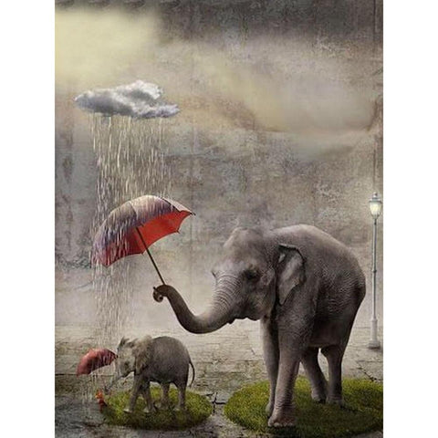 Image of 5D Diamond Painting Elephant in the Rain