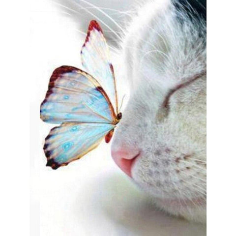 Image of 5D Diamond Painting Cat & Butterfly