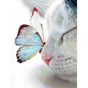 5D Diamond Painting Cat & Butterfly