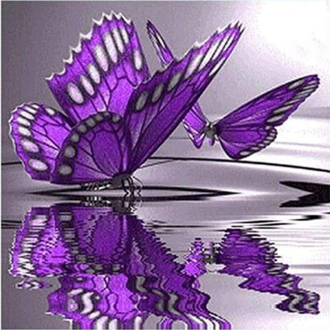 Image of 5D Diamond Painting Purple Butterfly Reflection