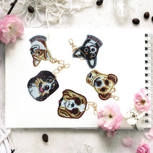 5D Diamond Painting Dog Keychain Pendant