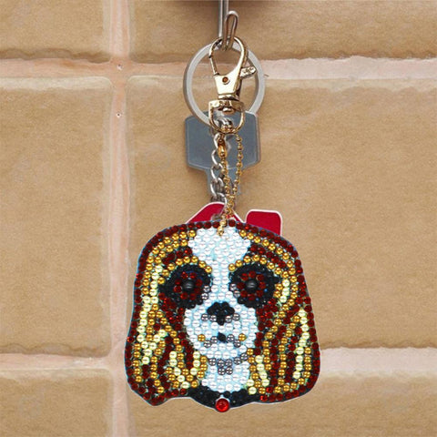 Image of 5D Diamond Painting Dog Keychain Pendant