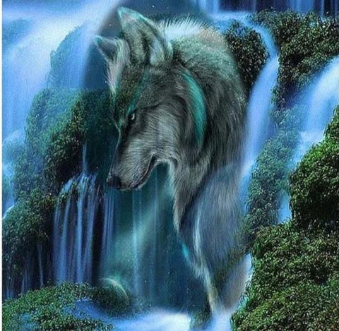 Image of 5D Diamond Painting Waterfall Wolf Scene