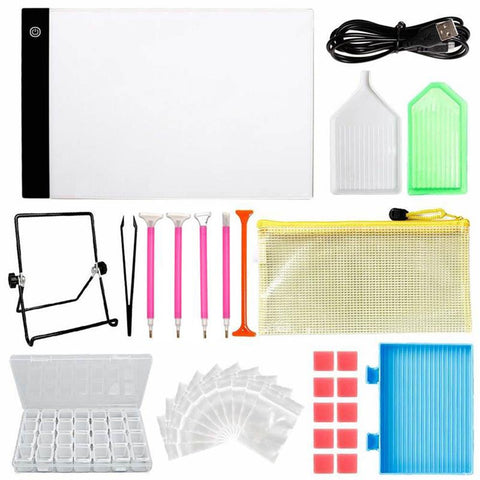 DIY Diamond Painting Tools and Accessories including A4 LED Light Board