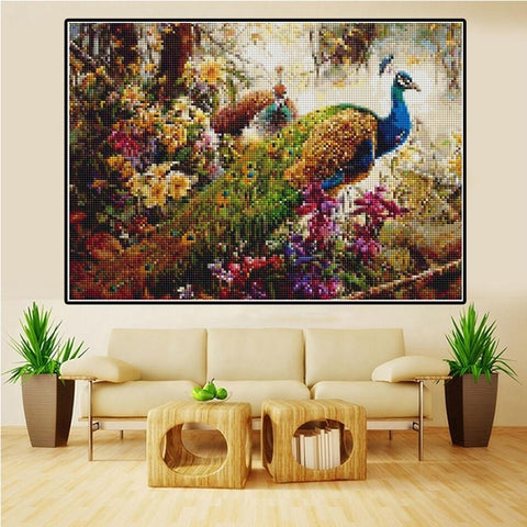 Image of 5D Diamond Painting Peacock Flower