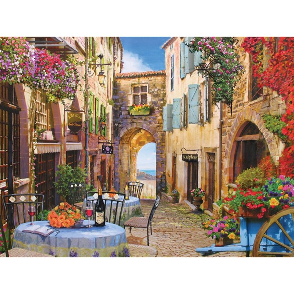 5D Diamond Painting French Village Street Scene
