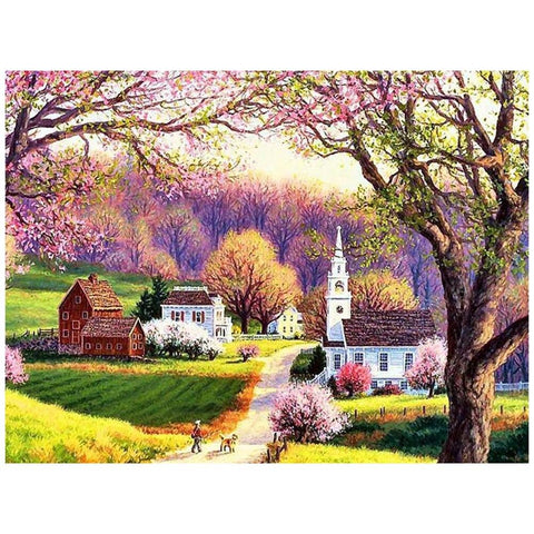5D Diamond Painting Church Village