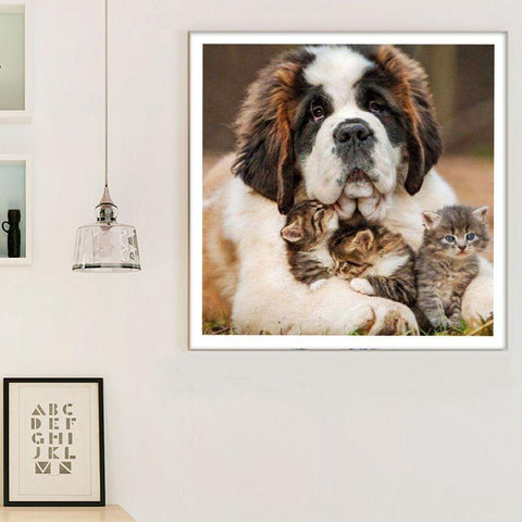 5D Diamond Painting Saint Bernard and Kittens