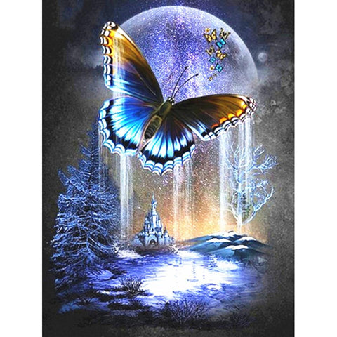 Image of 5D Diamond Painting Beautiful Butterfly in the Moonlight