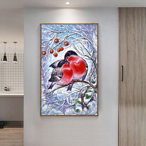 5D Diamond Painting Love Birds in Tree Trunk
