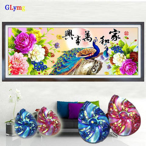 Image of 5D Diamond Painting Peacock and Flowers