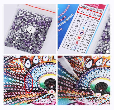 5D Diamond Painting Sparkling Love Partial Drill 24x24cm