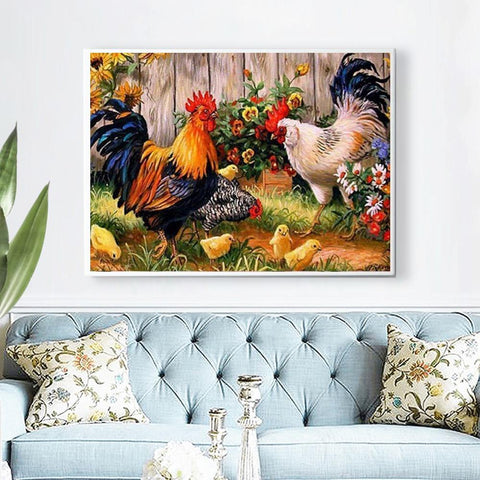 Image of 5D Diamond Painting Roosters, Hens, and Chicks Mini Collection