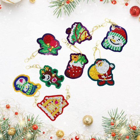 5D Diamond Christmas Keychains 8 pcs