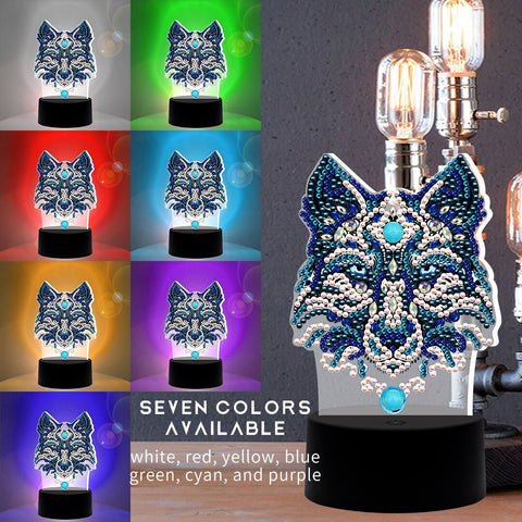 5D Diamond Painting Wolf Lamp - Partial Drill