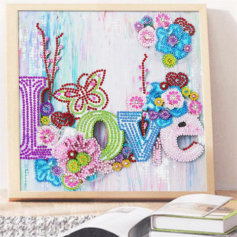 Image of 5D Diamond Painting Sparkling Love Partial Drill 24x24cm