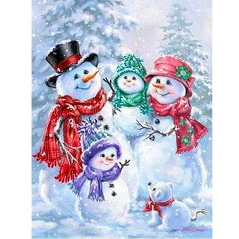 5D Diamond Painting Snowman and Family