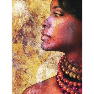 5D Diamond Painting Side Profile African woman **Round Drills Only**