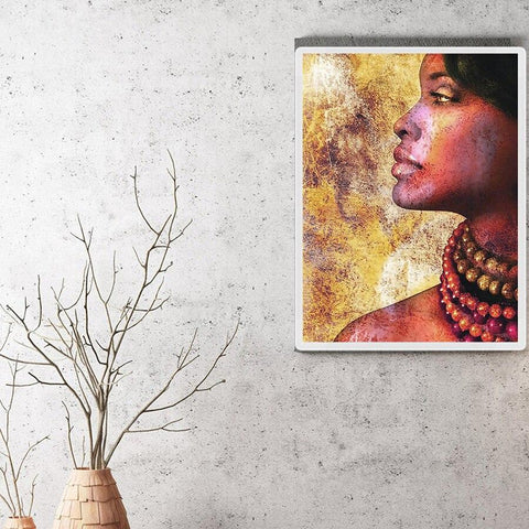 Image of 5D Diamond Painting Side Profile African woman **Round Drills Only**