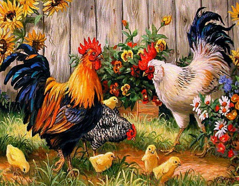 Image of 5D Diamond Painting Roosters, Chicken, and Chicks 2