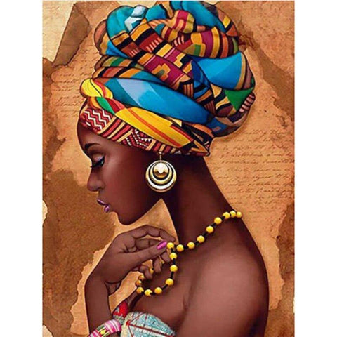 Image of 5D Diamond Painting African Woman **round drills only**
