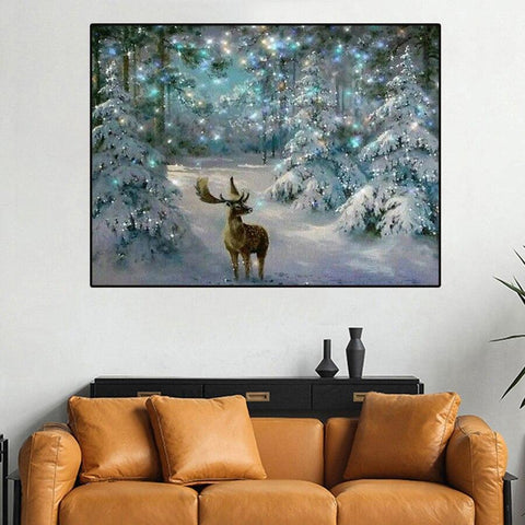 5D Diamond Painting Snow Christmas Deer **Round Drills Only**