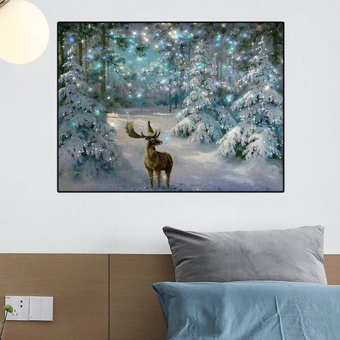 Image of 5D Diamond Painting Snow Christmas Deer **Round Drills Only**