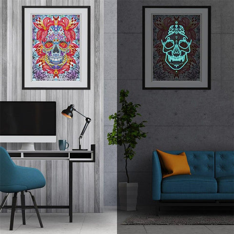 Image of 5D Diamond Painting LED Owl or Sugar Skull Light Special Shaped Partial Drill