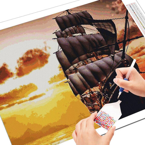5D Diamond Painting Blazing Sea Ship