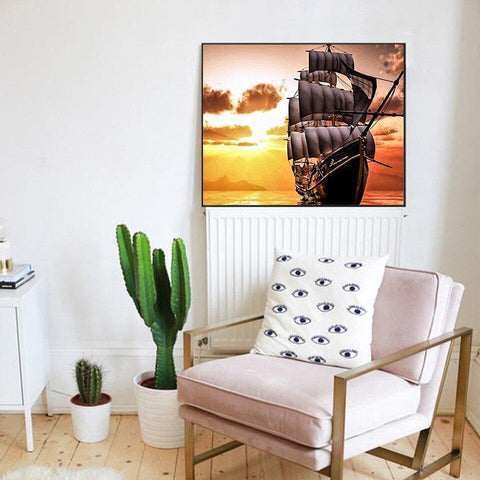 Image of 5D Diamond Painting Blazing Sea Ship