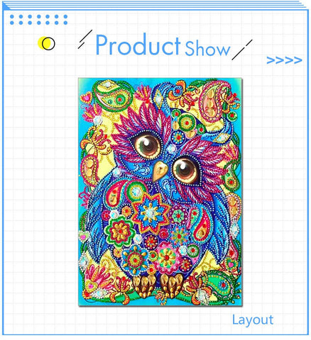 5D Diamond Painting Spunky Owl Partial Drill 30 x 40cm