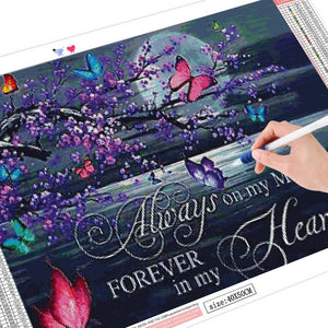 5D Diamond Painting Butterflies at Night Message
