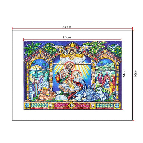 5D Diamond Painting Sparkling Nativity Scene Partial Drill