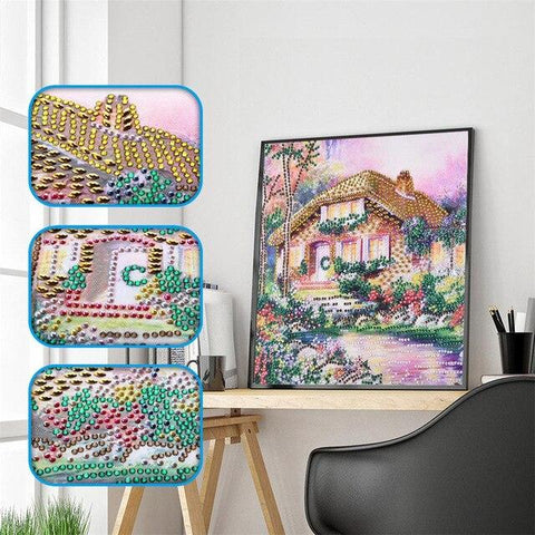 Image of 5D Diamond Painting Sparkling Cottage Partial Drill 30x30cm