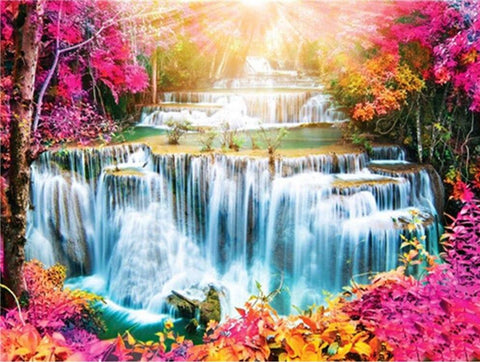 Image of 5D Diamond Painting Blazing Sun over Waterfall