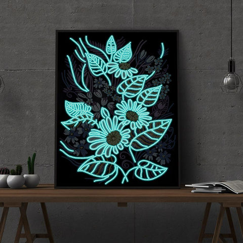 Image of 5D Diamond Painting Partial Drill Sparkling LED Flower