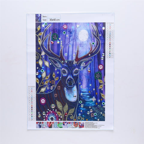 Image of 5D Diamond Painting Partial Drill Sparkling Deer in the Moonlight