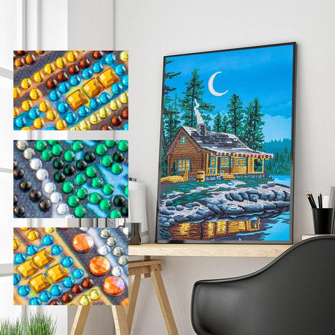 5D Diamond Painting Partial Drill Sparkling Cabin on the Lake