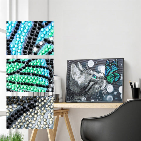 Image of 5D Diamond Painting Partial Drill Sparkling Kitten and Butterfly