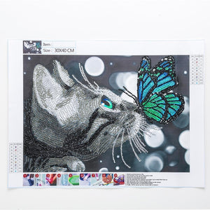 5D Diamond Painting Partial Drill Sparkling Kitten and Butterfly