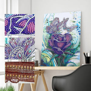 5D Diamond Painting Partial Drill Sparkling Butterflies and Purple Rose